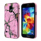 Tree Branch Pattern Protective Plastic Back Case for Samsung Galaxy S5 - Pink + Green