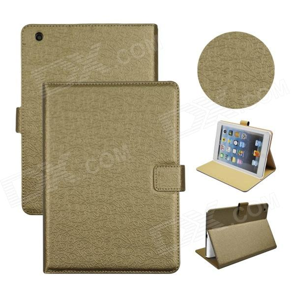 Angibabe Court Flower Protective PU Leather Case Cover Stand w/ Card Slot for IPAD Mini 2 - Golden flower show protective pu case w stand for nokia n920 light golden