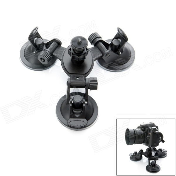 JUSTONE 3D Printing 3-Suction Cup Holder Mount for SJ4000 / GoPro Hero 4 / DSLR Camera - Black smj g 125 suction cup mount holder stand for gopro hero 4 2 3 3 sj4000 black green