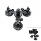 JUSTONE 3D Printing 3-Suction Cup Holder Mount for SJ4000 / GoProHero / DSLR Camera - Black