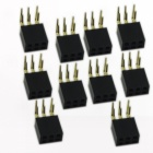2 x 3P 2.54mm Double Row 90 Degree Bent Pin Header Female Connector Plug - Black (10 PCS)