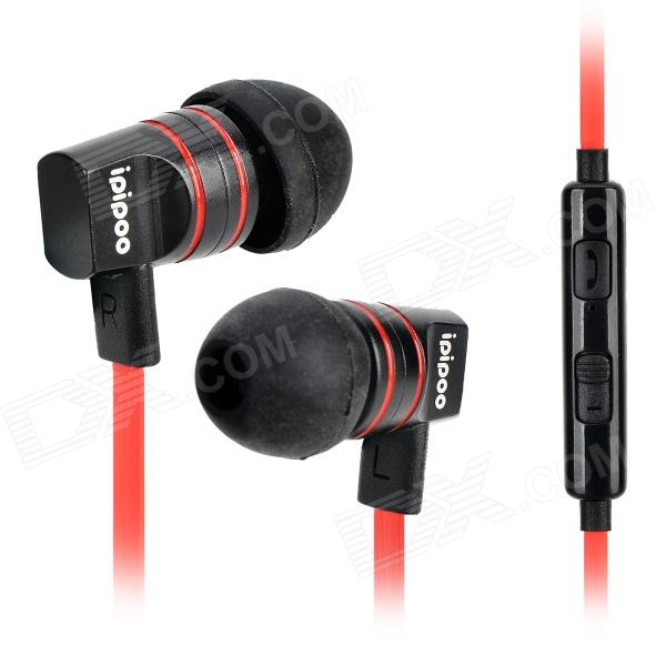ipipoo ip-A200Hi 3.5mm In-Ear Earphone w/ Microphone / Remote - Black + Red ipipoo ip dc2hi in ear earphones w replaceable wire mic next volume control champagne