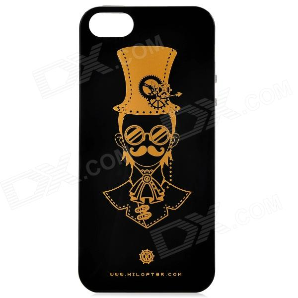 LOFTER AA010175 Punk Pattern Protective TPU Back Case for IPHONE 5 / 5S - Black + Golden protective pc tpu back case for iphone 5 w anti dust cover lavender purple