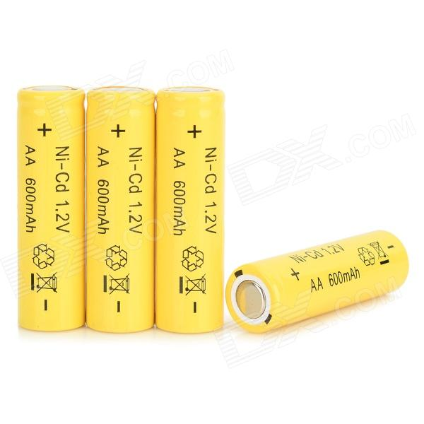1.2V 600mAh NiCd Rechargeable AA Batteries w/ Case - Yellow (4 PCS)