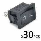 Plastic + Copper 10A Rocker Switches - Black (125~250V / 30 PCS)