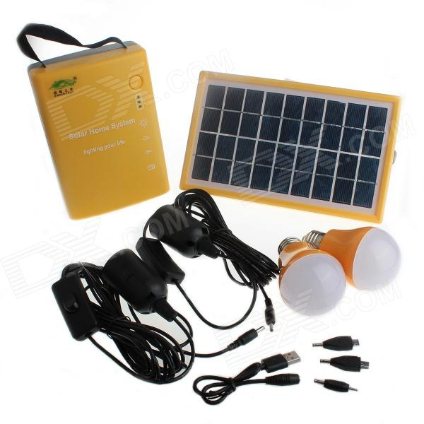 YuanBoTong D007 Multi-functional 6V 20,000mAh Solar Power Home System w/ LED Bulbs - Yellow + Black