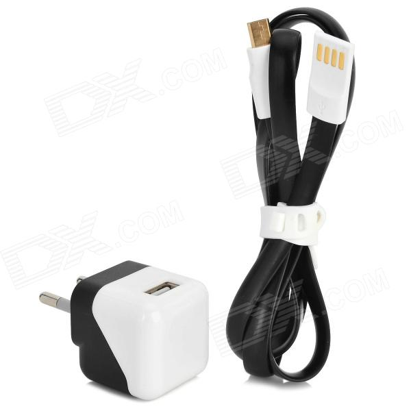 Universal 1A 5V EU Plug Power Adapter + Micro 5Pin Flat Data / Charging Cable - Black + White палатки greenell палатка эльф 2 v3