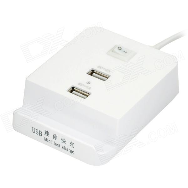 Universal Mini 2-Port USB Charging Station w/ Switch - White (US Plug / 100~240V) 6 usb port ac power charger adapter w us plug for iphone ipad ipod samsung tablet pc white