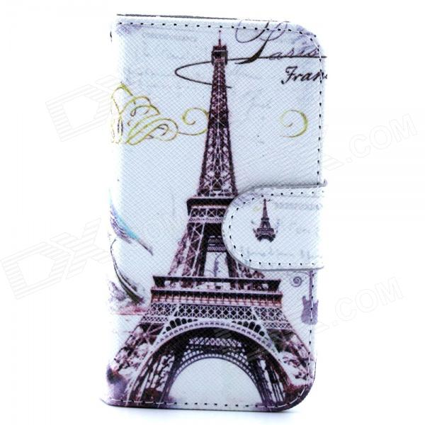 Retro Eiffel Tower Pattern Flip-open PU Leather Case with Stand and Card Slot for IPHONE 4 / 4S cute owl pattern pu leather flip open case w stand card slot for iphone 4 4s multi color
