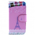 Eiffel Tower Pattern Flip-open PU Leather Case with Stand and Card Slot for IPHONE 4 / 4S - Pink