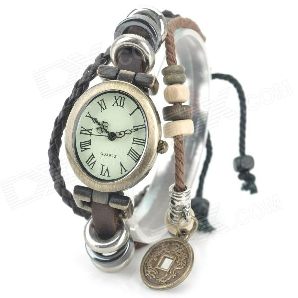 A005 Armbånd Stil PU Band Analog kvarts håndleddet watch for kvinner - Brown + messing (1 x 377)