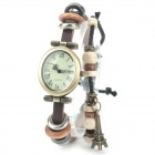 Women's Bracelet Style Eiffel Tower Ornament PU Band Analog Quartz Watch - Brown + Brass (1 x 377)