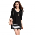 Fashionable Cotton + Chiffon Two-Piece Dress - Black + White (Free Size)