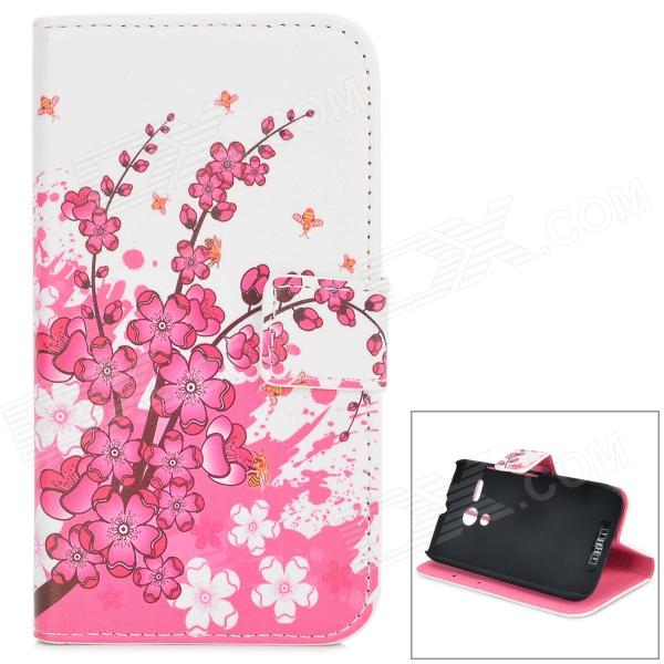 IKKI Plum Flowers Pattern Protective PU Leather Case w/ Stand for Motorola MOTO G - White + Pink emersongear lbt2649b hydration carrier for 1961ar molle backpack military tactical bags hunting bag multicam tropic arid black