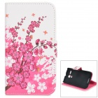 IKKI Plum Flowers Pattern Protective PU Leather Case w/ Stand for Motorola MOTO G - White + Pink