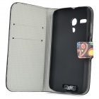 IKKI Jellyfish Pattern Protective PU Leather Case w/ Stand for Motorola MOTO G - Black + Multicolor