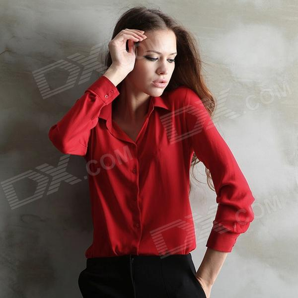 Women's Stylish Chiffon Long-Sleeved Blouse Shirt - Red (L)
