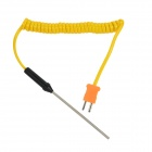 Liquid / Gel Measuring Thermocouple w/ Spring Cable - Yellow + Silver + Black + Orange