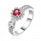 Women's Fashionable Rhinestone-studded Silver-plated Brass Crystal Ring - Silver + Red