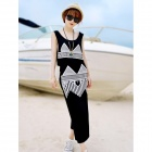 Fashionable Two-piece Cotton Vest Style Dress - Black + White (Size M)