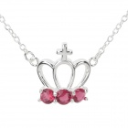 N612 Women's Fashionable Crown Shaped Pendant Necklace - Silver + Red