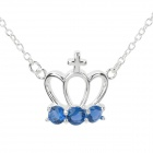 N612 Women's Fashionable Crown Shaped Pendant Necklace - Silver + Blue