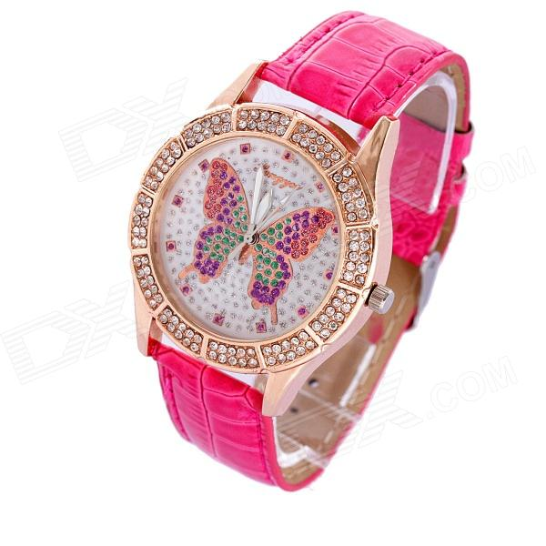 MGJXZ03 Women's Stylish Zinc Alloy PU Band Quartz Analog Wrist Watch - Golden + Red (1 x 626)