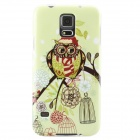 Owl Christmas Hat Pattern Protective TPU Back Case for Samsung Galaxy S5 - Light Green