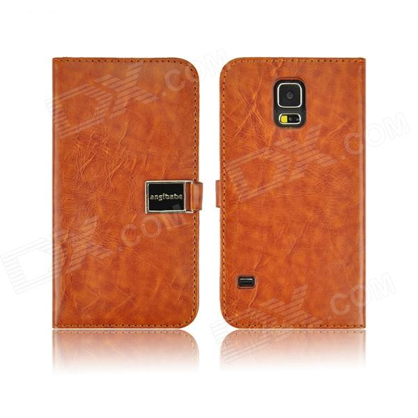 Angibabe PU Leather Case with Card Slots for Samsung Galaxy S5 - Brown luxury pu leather flip open case w card slots for samsung galaxy s5 i9600 pink