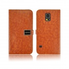 Angibabe PU Leather Case with Card Slots for Samsung Galaxy S5 - Brown