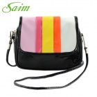 Saim YWMDSP Women's Stylish Mini Flip Open PU Shoulder Messenger Bag - Black + Multicolored