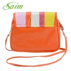 Saim YWMDSP Women's Stylish Mini Flip Open PU Shoulder Messenger Bag - Orange + Multicolored
