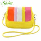 Saim YWMDSP Women's Stylish Mini Flip Open PU Shoulder Messenger Bag - Yellow + Multicolored