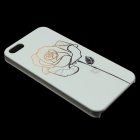Ultra-thin Emboss Rose Pattern Protective Plastic Back Cover Case for IPHONE 5 / 5S - White
