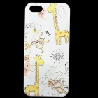 Embossed Zoo Pattern Protective Plastic Back Cover Case for IPHONE 5 / 5S - White + Multicolored
