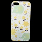 Embossed Elephant And Flower Pattern Protective Plastic Back Case for IPHONE 5 / 5S - White + Yellow