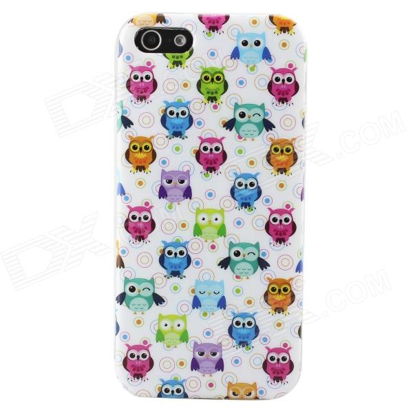 Cartoon Owl Pattern Protective TPU Back Case for IPHONE 5 / 5S - White + Multicolored tpu material protective back case cover owl pattern for iphone 5c