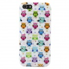 Cartoon Owl Pattern Protective TPU Back Case for IPHONE 5 / 5S - White + Multicolored