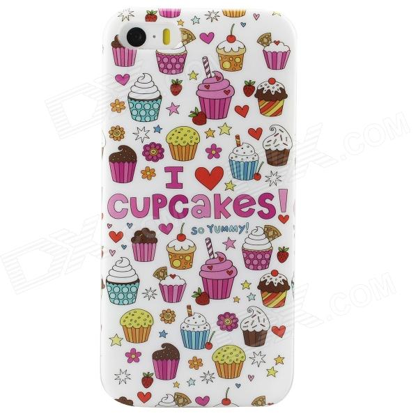 Cartoon Cup Cakes Pattern Protective TPU Back Case for IPHONE 5 / 5S - White + Multicolored  glossy tpu gel cartoon pattern mobile cover for iphone 7 plus 5 5 inch polar bear