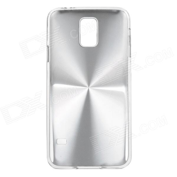 Sunshine Protective CD Grain Style Aluminum Alloy + PC Back Case for Samsung Galaxy S5 - Silver sunshine sports velcro protective arm bag for samsung galaxy s5 i9600 red black