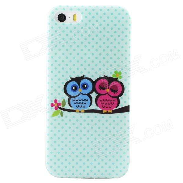 Cartoon Owl Protective TPU Back Case for IPHONE 5 / 5S -Green + Multicolored for iphone 7 plus 5 5 inch glossy tpu cellphone case with cartoon pattern bunny