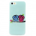 Cartoon Owl Protective TPU Back Case for IPHONE 5 / 5S -Green + Multicolored