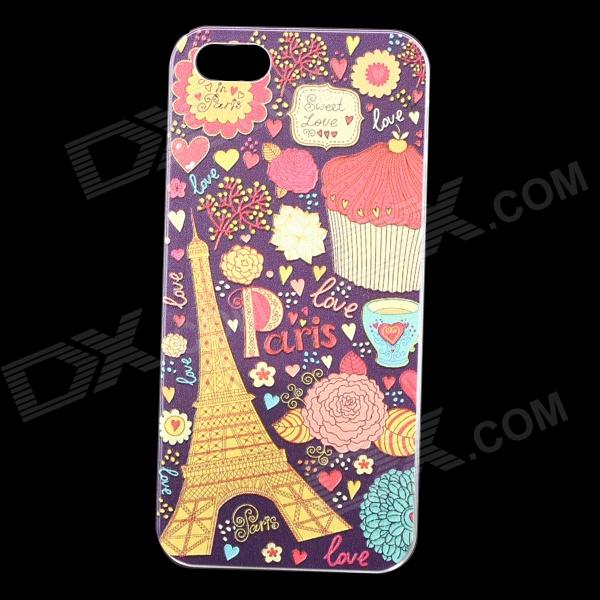 Embossed Eiffel Tower Pattern Protective Plastic Back Case for IPHONE 5 / 5S - Purple + Multicolored embossed tpu back shell for iphone se 5s 5 warning words