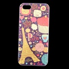 Embossed Eiffel Tower Pattern Protective Plastic Back Case for IPHONE 5 / 5S - Purple + Multicolored
