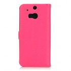 Protective Classic Flip-open Split Leather Case w/ Holder / Card Slot for HTC ONE2 / M8 - Deep Pink