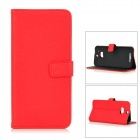 Protective Classic Flip-open Split Leather Case w/ Holder / Card Slot for HTC ONE2 / M8 - Red