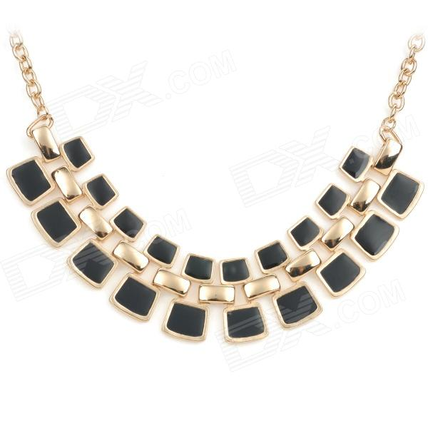 NC-7309 Bohemia Style Elegant Zinc Alloy Pendant Necklace for Women - Black + Golden elegant crystal drill zinc alloy chain pendant necklace for women golden translucent white