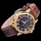 mce Fashion Men's PU Band Analog Mechanical Wrist Watch - Golden + Brown