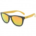 OSSAT MX01002 Retro Style PC Frame Resin Lens UV400 Protection Polarized Sunglasses - Black + Yellow