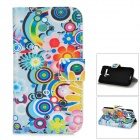 Flower Pattern Protective Flip-open PU Leather Hard Case w/ Holder / Card Slot for MOTO G / DVX